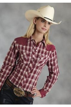 Women's Red Ladies Long Sleeve Western Style Shirt, Curved 1 Point Back Yoke, Plaid Cotton Poly Broadcloth Body Pieced With Solid Cotton Poly Yokes & Cuffs, Trimmed With Solid Cotton Poly Broadcloth Piping, Hot Country Girls, Country Wear, Country Women, Country Shirts, Country Outfits, Southern Girls, Western Girl, Western Wear For Women, Cow Girl