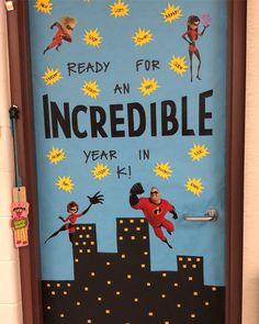 Disney Bulletin Boards, Creative Bulletin Boards, Kindergarten Bulletin Boards, Welcome To Kindergarten, Classroom Welcome, Superhero Classroom Theme, Disney Classroom, Preschool Classroom, Classroom Themes