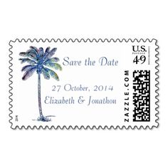 Palm Tree Tropical Save the Date custom US wedding postage, a new version of one of my best selling designs