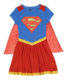 Another great find on #zulily! Supergirl Blue & Red Nightgown & Cape - Girls #zulilyfinds
