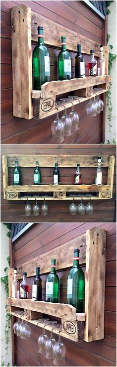 Old Pallets Ideas pallet wall bar idea - Wood pallets are utilized for packing the items with more chances of getting damaged when they need to be shifted to a far off place. Wood Pallet Furniture, Bar Furniture, Furniture Projects, Office Furniture, Bedroom Furniture, Furniture Design, Outdoor Furniture, Pallet Crafts, Diy Pallet Projects