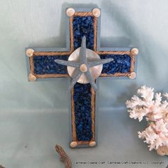 Beach decor Starfish Decor cross in shades by CarmelasCoastalCraft, $25.00 http://www.etsy.com/shop/CarmelasCoastalCraft?section_id=13523717