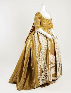 Gold silk striped sack back gown - side front view (1750-75).     MET - C.I.39.13.85a, b