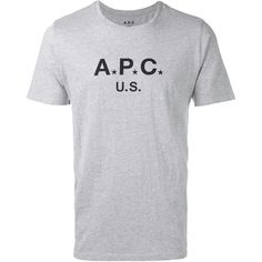 A.P.C. logo T-shirt (230 BRL) ❤ liked on Polyvore featuring men's fashion, men's clothing, men's shirts, men's t-shirts, grey, mens grey shirt, mens short sleeve shirts, mens gray dress shirt, mens grey t shirt and mens logo t shirts