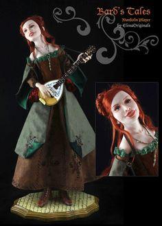 OOAK Art Doll Mandolin Player Bard Fantasy Hand Made Doll by Elenaoriginals