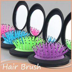 1 PC de espelho maquiagem Comb escova de cabelo escova de cabelo emaranhado massagem escova anti - estática pente portátil dobrável de viagem alishoppbrasil