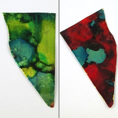 Testing on metal scraps for Coloring Metal with Alcohol Ink - tutorial by Rena Klingenberg