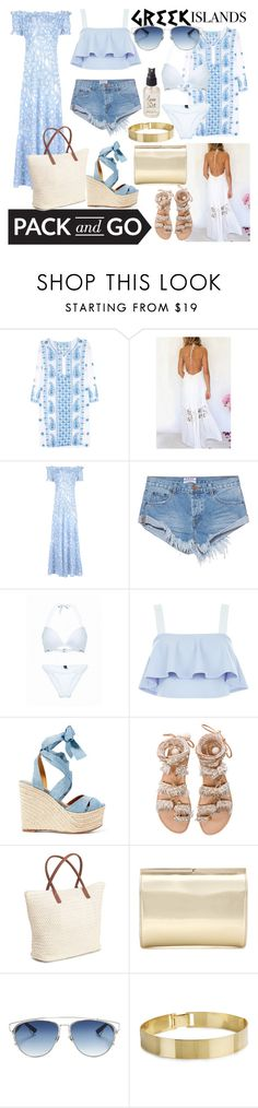 """Greek Islands"" by juliamella on Polyvore featuring Melissa Odabash, One Teaspoon, New Look, Ralph Lauren, Elina Linardaki, H&M, Jimmy Choo, Christian Dior, Olivine and Packandgo"