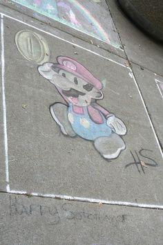 Mario! Chalk Art, Art Festival, Buffalo, Mario, Water Buffalo