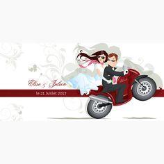 Faire-part mariage original avec moto rouge avec dessin mari et femme