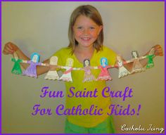 Make a paper doll chain of Saints. Fun Catholic craft for All Saints' Day!