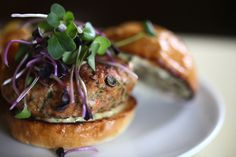 Maria Hines' Salmon-King Oyster Blended Burger