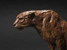 Bronze Cats sculpture by artist David Mayer titled: 'Seated Leopard (bronze Little Big Cat statues statuettes sculptures)'