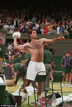 Another Wimbledon legend is Pete Sampras, who won seven titles in eight tournaments between 1993 and 2000 - here he is throwing his shirt into the crowd after beating Croatia's Goran Ivanisevic in the 1998 final. Amazingly, the American's seven titles didn't stay as a record for long, with Roger Federer also winning seven titles in the last decade