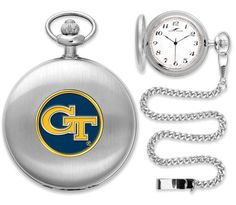 New - Mens Georgia Tech Yellow Jackets-Pocket Watch - Silver