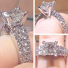 The diamond encrusted band on this engagement ring is absolutely stunning!