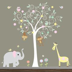 Nursery Wall decal With Owls Tree Elephant by Modernwalls on Etsy