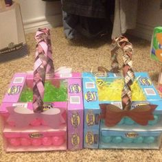 Boy & girl Easter basket made with Peep boxes