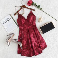Box Pleated Floral Jacquard Satin Cami Dress