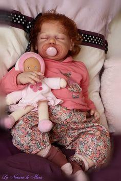 reborn baby girl, doll, human hair, toddler, Anne Timmerman kit