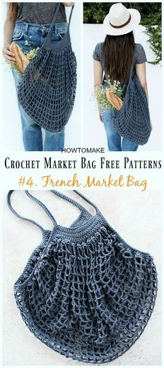 French Market Bag Crochet Free Pattern - Market Grocery Patterns Crochet Market Bag Free Patterns: a collection of crochet market tote bag, grocery bag, shopping bag for farmers market and grocery store, grocery storage Crochet Diy, Beau Crochet, Crochet Gratis, Crochet Tote, Crochet Handbags, Crochet Purses, Filet Crochet, Crochet Ideas, Crochet Baskets