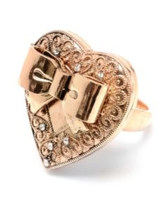 Betsey Johnson Ring, Crystal Heart and Bow Jewelry & Watches Fashion