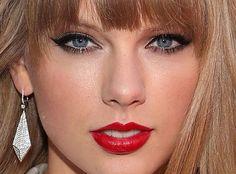 Taylor Swift, Red, lipstick, eyeliner, beauté