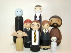 The Potter Posse - Harry Potter Hand Painted Wood Collectable Play Peg Doll Set. $135.00, via Etsy.