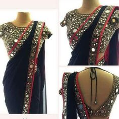 18 Latest Mirror Work Blouse Designs for Sarees this Festive Season [Styling Tips inside] Saree Blouse Patterns, Saree Blouse Designs, Indian Dresses, Indian Outfits, Indian Clothes, Pakistani Dresses, Mirror Saree, Mirror Work Saree Blouse, Mirror Work Blouse Design