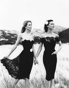 Tumblr  Channel 1996/'97  Photographer: Karl Langerfeld  Models: Shalom Harlow & Claudia Schiffer