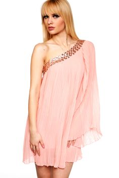 Just for 5£   Jewelled One Shoulder Pleated Dress