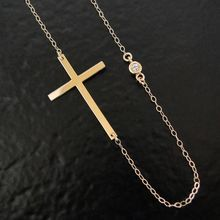 """14K Gold Kelly Ripa Sideways Cross Necklace With Genuine Diamond - 16"""" Yellow or White Gold"""