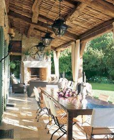Ferme d'Aix-en-Provence - Beautiful Veranda for Al Fresco Dining. Outdoor Rooms, Outdoor Dining, Outdoor Decor, Dining Area, Patio Dining, Dining Room, Outdoor Patios, Outdoor Curtains, Outdoor Kitchens
