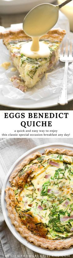 Eggs Benedict Quiche with Hollandaise Sauce ~ this brilliant hack lets you enjoy your favorite luxury breakfast in easy sliceable form ~ complete with little chunks of Canadian bacon, and a quick and creamy hollandaise