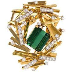 H.Stern: Tourmaline, Diamond & Gold Abstract Brooch (circa 1970)