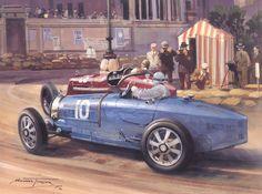 (c) Michael Turner Michael Turner, Grand Prix, Turner Painting, Car Painting, Classic Motors, Classic Cars, Bugatti, Formula 1, Gilles Villeneuve