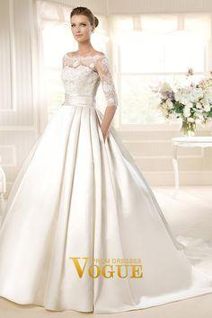 2013 Wedding Dresses A Line Bateau Court Train Satin USD 577.50 PJ8X6576 - VoguePromDresses