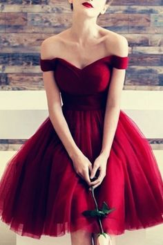 Discount Engrossing Maroon Homecoming Dress Off The Shoulder Maroon Homecoming Dresses Tulle Knee Length Burgundy Hoco Dress Knee Length Bridesmaid Dresses, V Neck Prom Dresses, Knee Length Dresses, Evening Dresses, Prom Gowns, Red Party Dresses, Dresses For Parties, Shoes For Dresses, Dress For Party