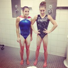 """""""just a little red❤ #frozen with @alyraisman"""" From Mckayla Maroney's Instagram. They had an ice bath lol"""