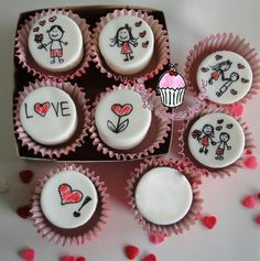 Cupcakes san valentn fondant 46 ideas for 2019 Valentine Desserts, Kinder Valentines, Valentines Gifts For Boyfriend, Valentine Cookies, Valentine Day Love, Valentine Nails, Fondant Cupcakes, Honey Cupcakes, Fun Cupcakes