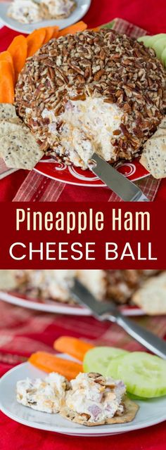 Pineapple Ham Cheese Ball - an easy party appetizer recipe for spreading on crackers or veggies. This sweet and savory, cheesy snack will be a holiday favorite with @dolesinshine. #AD #cheeseball #appetizer #glutenfree