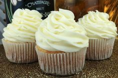 """Champagne Buttercream Frosting - a creamy buttercream frosting infused a hint of champagne flavor. A great choice for when you need that """"special"""" dessert."""