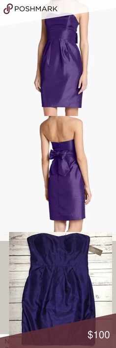 """Jenny Yoo Parker Strapless Shantung Sheath Dress A gently dipped neckline smooth waistband shape a sleek dress alight in a subtly textured shimmer Convertible side panels can be tied into front or back bow atop the precisely pleated tulip skirt length from center front to hem: 30"""". Measurements taken from size 8 and may vary slightly by size. Hidden back-zip closure. Strapless sweetheart neckline Side-seam pockets Fully lined rubber gripper material, padding and boning in bodice. Polyester…"""
