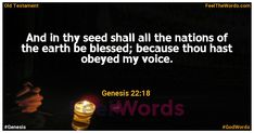 And in thy seed shall all the nations of the earth be blessed; because thou hast obeyed my voice. Famous Bible Verses, Popular Bible Verses, Scripture For Today, Verses About Love, Old Testament, Verse Of The Day, Read More, Blessed