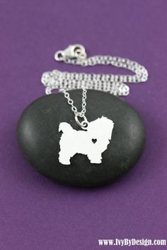 Maltese Necklace - Short Haired Dog Pendant - Dog Breed - Sterling Silver Charm - Memorial - Birthday Gift - Personalized Jewelry