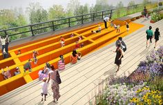 Railroad park. converting an abandoned elevated rail line in Manhattan into a walking park and playground.  looks beautiful and has some amazing technology involved.