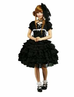 Black Cotton Scoop Short Sleeves Lace Gothic Lolita Dress with Tiers (Large) SOLILOR,   LOLITA JAPANESE AND VINTAGE FASHION to buy just click on amazon here    http://www.amazon.com/dp/B00A7NKDOS/ref=cm_sw_r_pi_dp_ZOFysb05SPDSF280