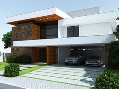 54 Beautiful Modern Home Design Models Here are 10 Tips and Features You Need to Know - House style can be really actually just a procedure which must be done therefore people end up they expect and deserve. Modern Driveway, Driveway Design, Driveway Ideas, Modern House Facades, Modern House Design, Modern Exterior, Exterior Design, Beautiful Modern Homes, Villa