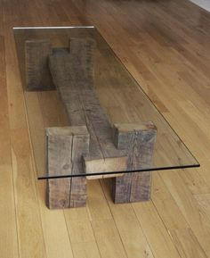 Reclaimed Wood and Glass Coffee Table. Unique by TicinoDesign, $820.00: