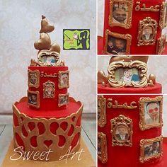 red and bronze anniversary cake